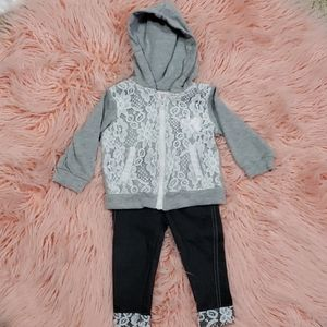 Little Girl Zip Hoodie and pants outfit